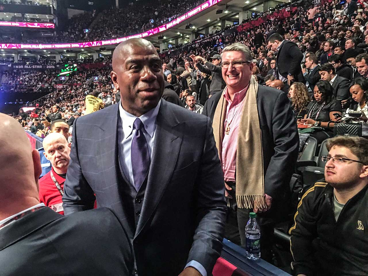 A jovial Magic Johnson at the NBA All-Star Game.