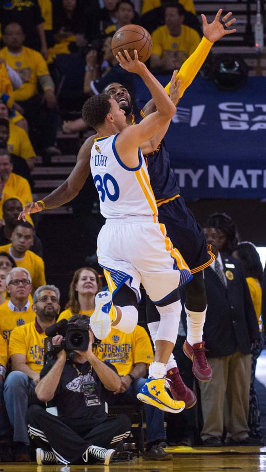 Kyrie Irving played solid defense on Steph Curry at times, blocking this shot and another in the final seconds of regulation to force overtime.