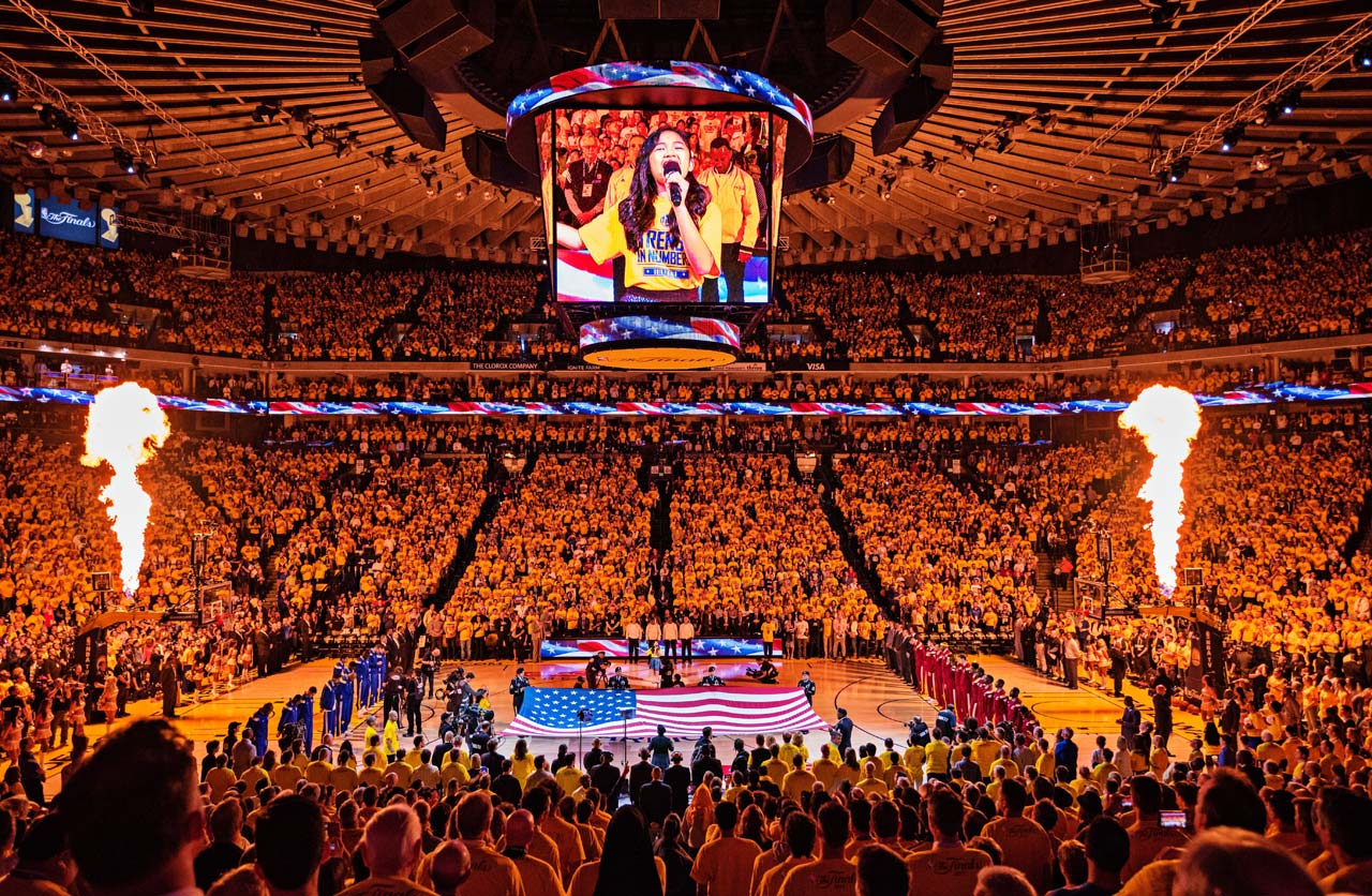 The Warriors treated the home crowd and a national tv audience to a rendition of the National Anthem by 10-year-old San Jose resident Nayah Damasen.