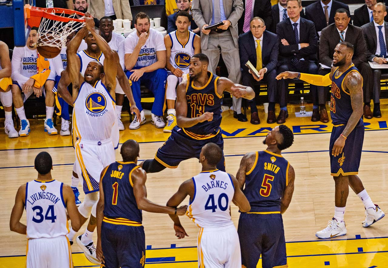 Andre Iguodala scored 15 points off the bench for the Warriors, including this dunk.