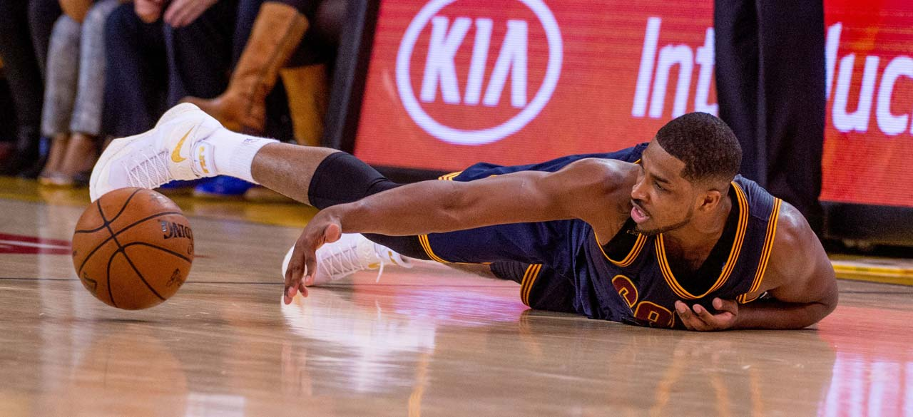 Tristan Thompson looses the handle on the ball in a second-half sequence.