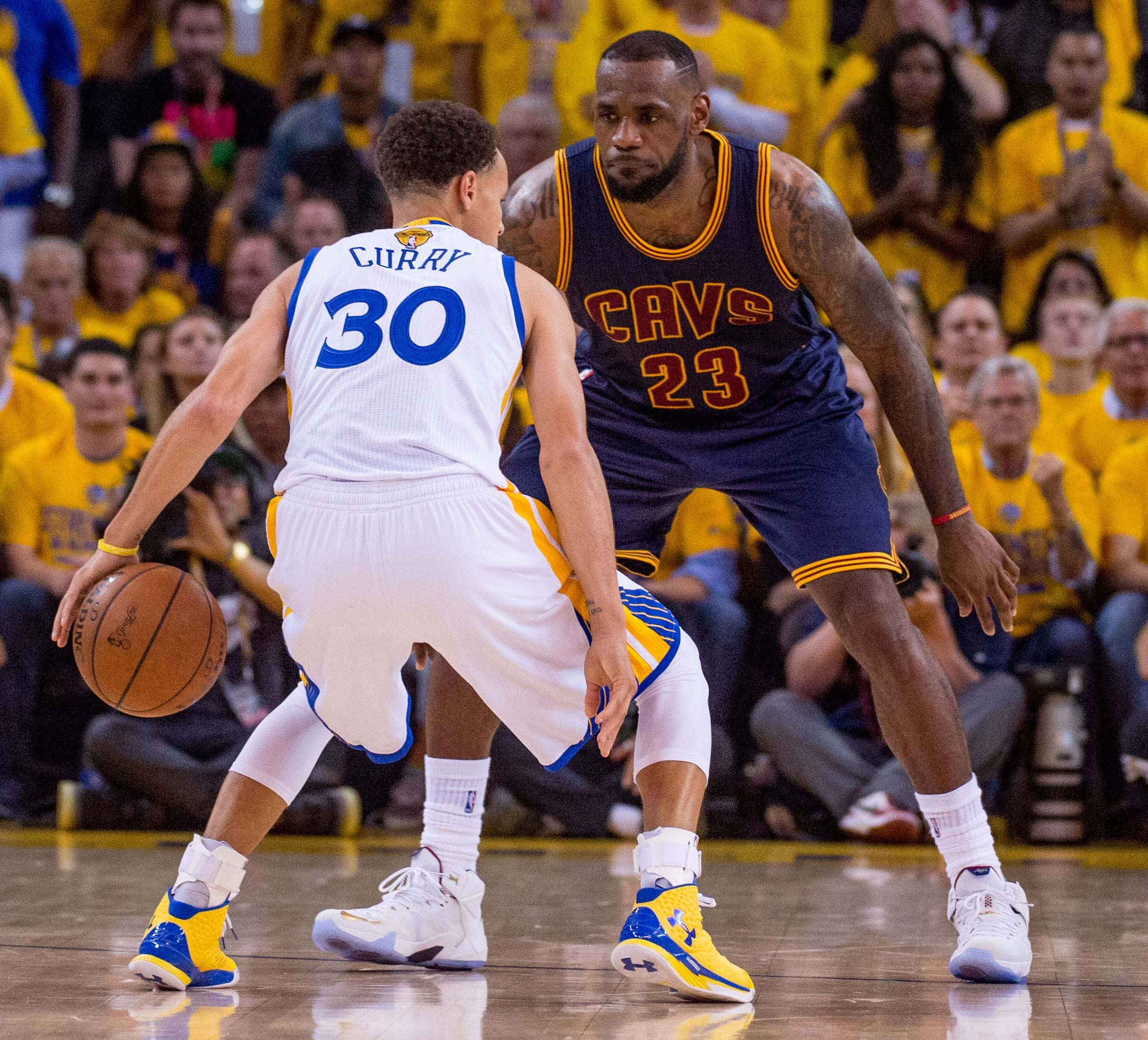 LeBron James was matched up against Steph Curry on more than one occassion.