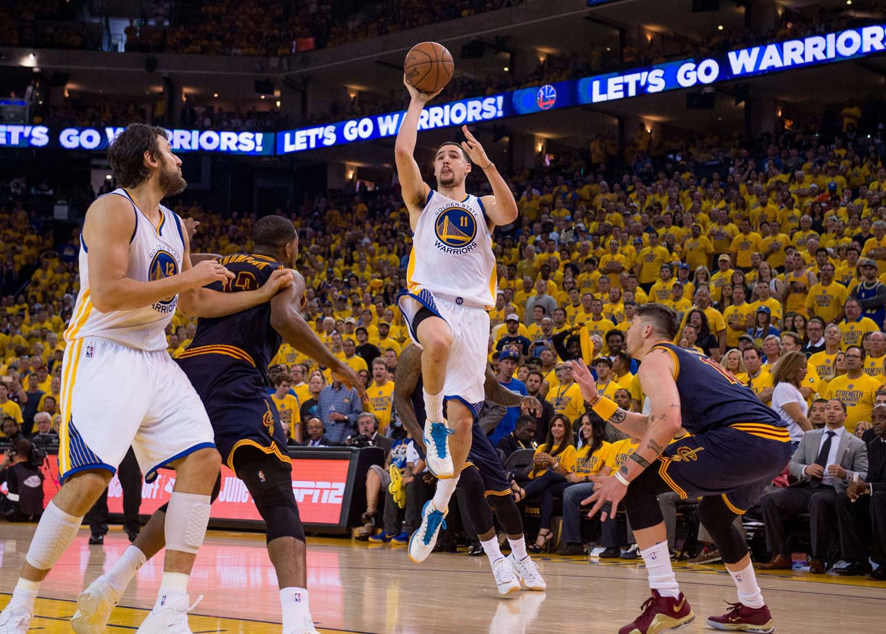 Klay Thompson played a team-high 46 minutes and sank 14 of his 28 shots.