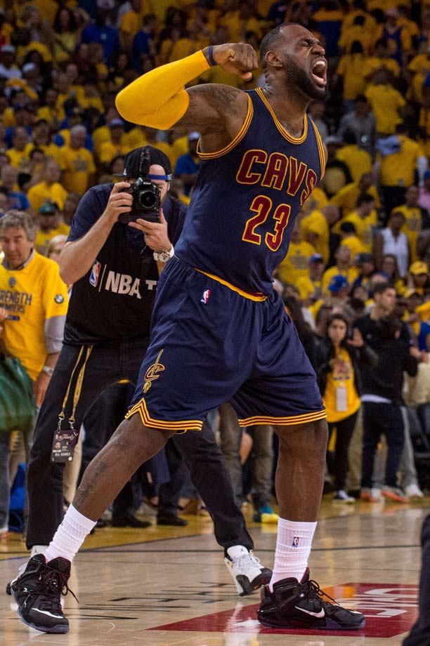 LeBron James celebrates a hard-fought victory, one in which he had a triple double.