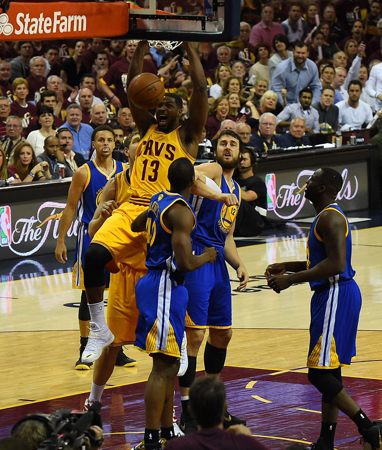 Tristan Thompson makes an emphatic finish on an easy basket.