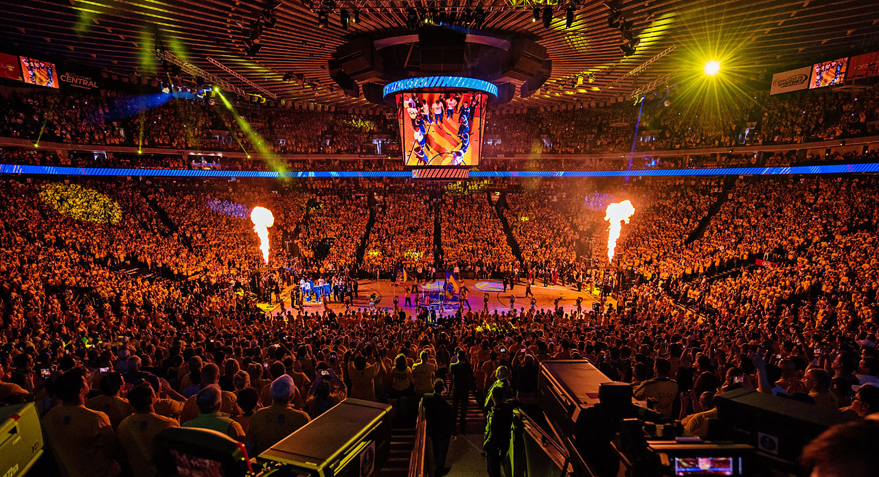 The scene inside Oracle Arena.