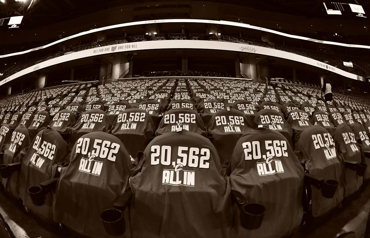 The seats inside Quicken Loans Arena.
