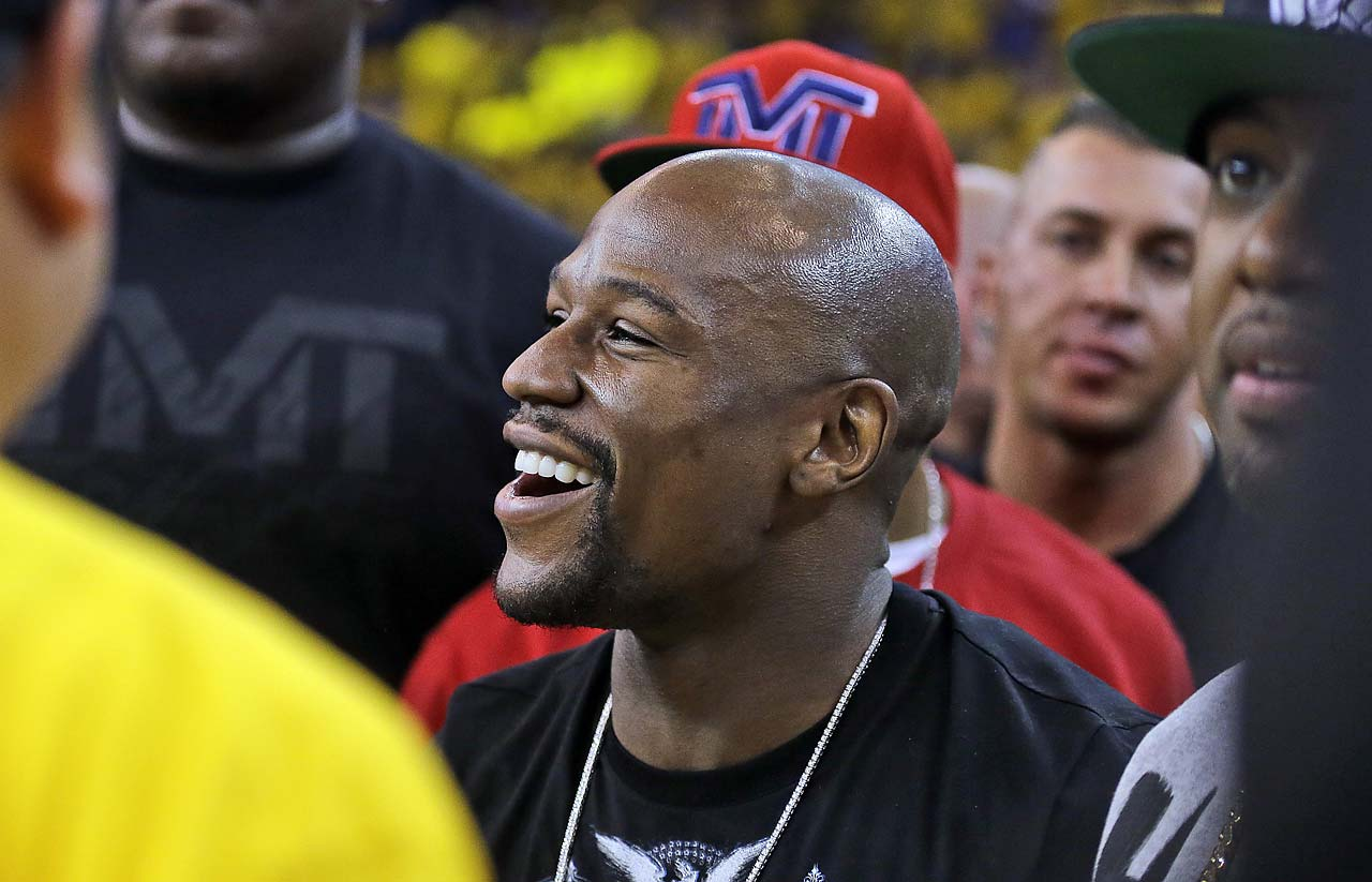 Boxer Floyd Mayweather Jr. at Game 1 in Oakland.