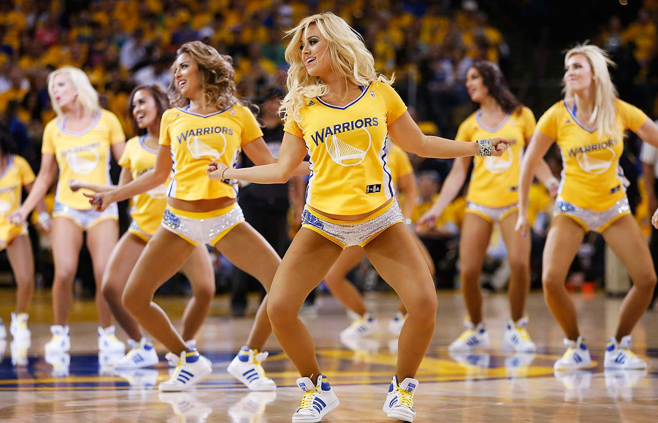 The Golden State Warriors cheerleaders perform during Game 5.