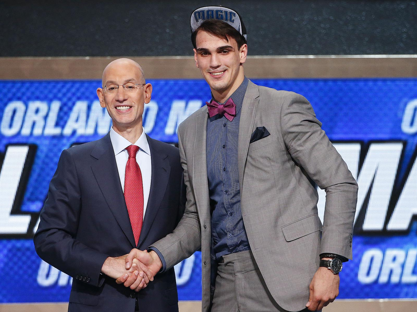 Saric won't be playing in the NBA for a few years, but he already has the style down with this ultra-preppy, beltless look.