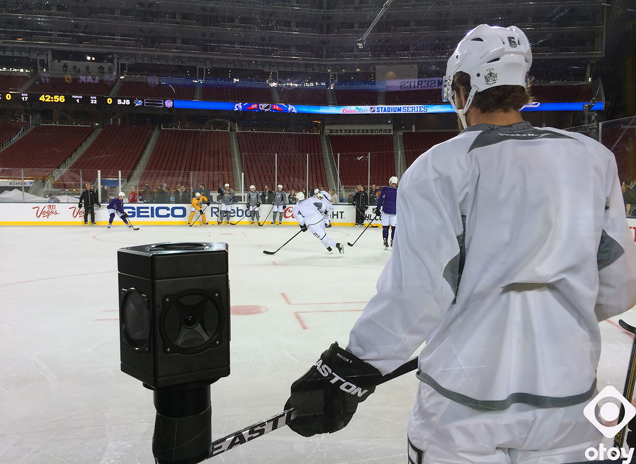An OTOY 360-degree high-definition virtual reality camera is set up during the Los Angeles Kings practice on Feb. 26, 2015 for their Stadium Series game against the San Jose Sharks at Levi's Stadium in Santa Clara, Calif.