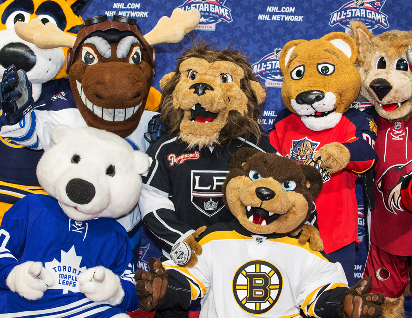 Several team mascots congregate at the red carpet for the inaugural NHL All-Star Mascot Showdown.