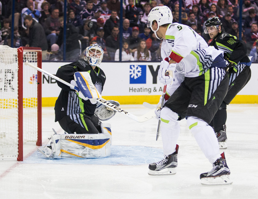 Brian Elliott #1 of Team Foligno watches the puck fly over his head during the 2015 NHL All-Star Game.