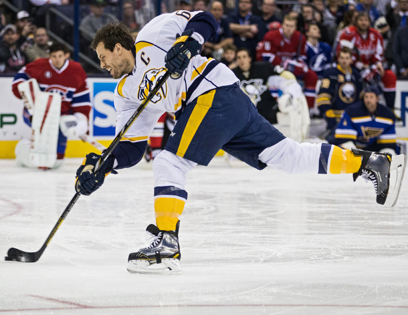 Shea Weber #6 of the Nashville predators wins the AMP NHL Hardest Shot competition with a 108.5 mph slap shot at the All-Star Skills Competition.