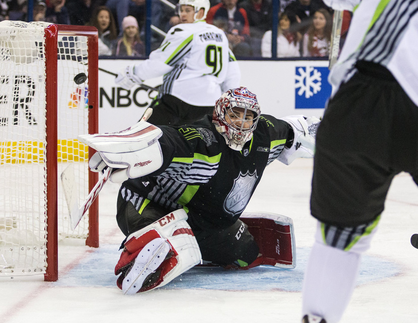 Goalie Carey Price of Team Foligno watches as Ryan Getzlaf of Team Toews scores during the 2015 NHL All-Star Game.
