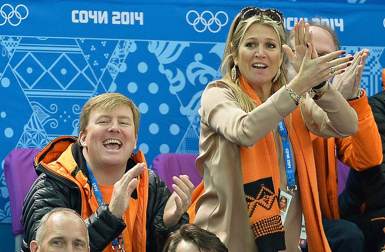 King Willem-Alexander of the Netherlands and Queen Maxima of the Netherlands attend the Short Track at Iceberg Skating Palace.