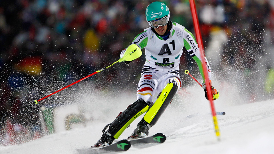 Felix Neureuther of Germany takes the 3rd place during the Audi FIS Alpine Ski World Cup Men's Slalom on January 28, 2014 in Schladming, Austria