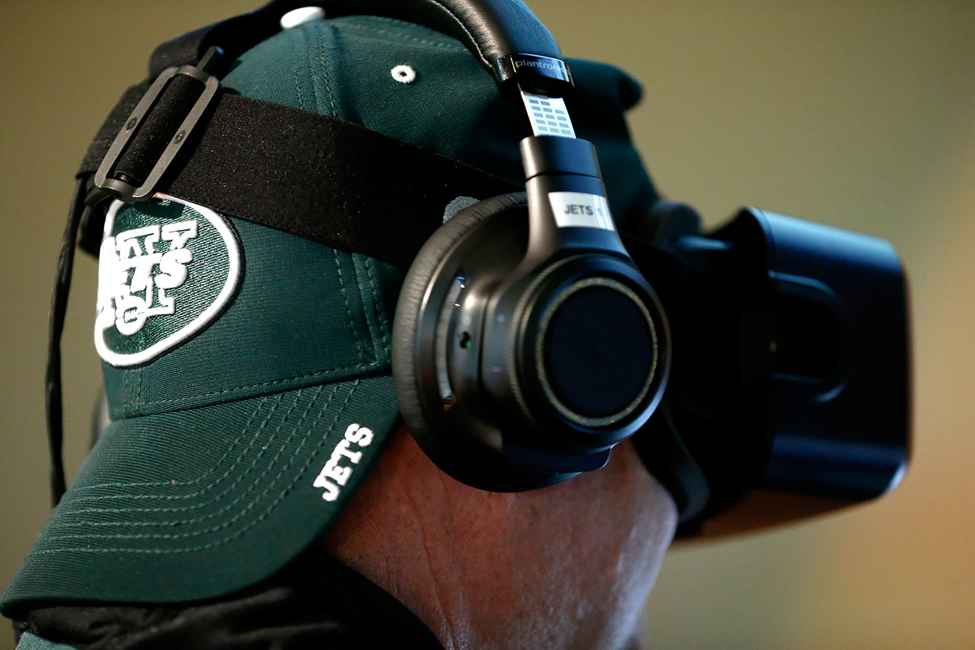 A New York Jets fan watches a virtual reality video before a game against the Tennessee Titans on Dec. 13, 2015 at MetLife Stadium in East Rutherford, N.J.