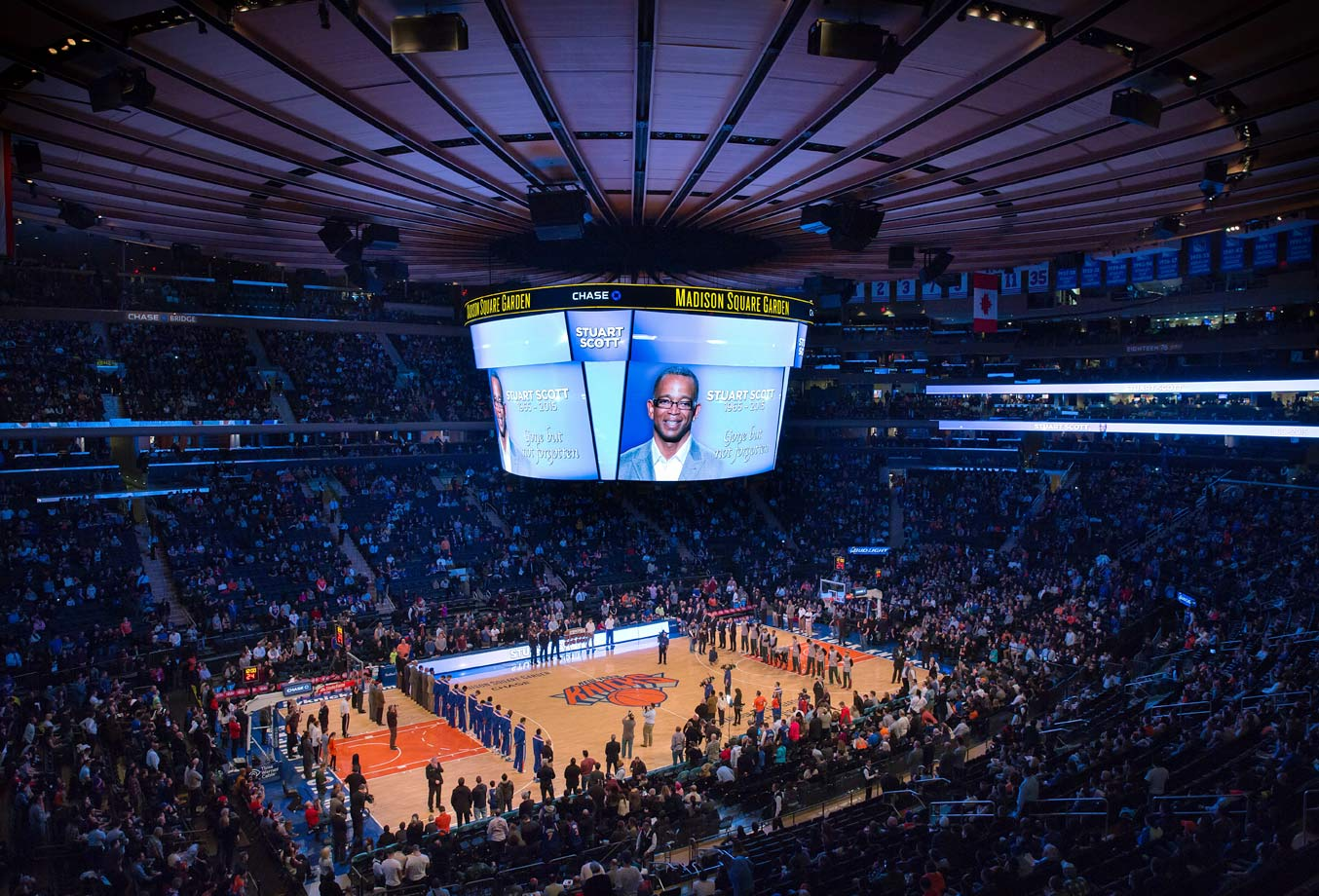 Stuart Scott is honored before the New York Knicks game against the Milwaukee Bucks at Madison Square Garden on Jan. 4, 2015 in New York City.