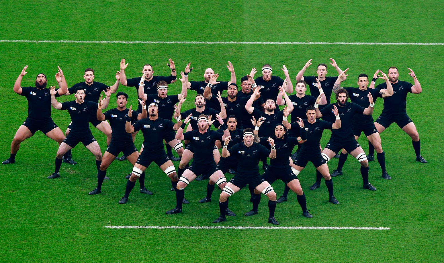 The New Zealand team performs its pre-match Haka during a 2015 Rugby World Cup semifinal match against South Africa.