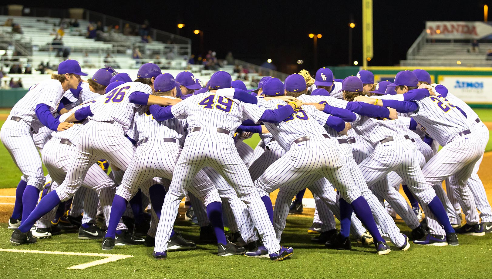 LSU Tigers pump themselves up during a game against Nicholls State University at Alex Box Stadium.