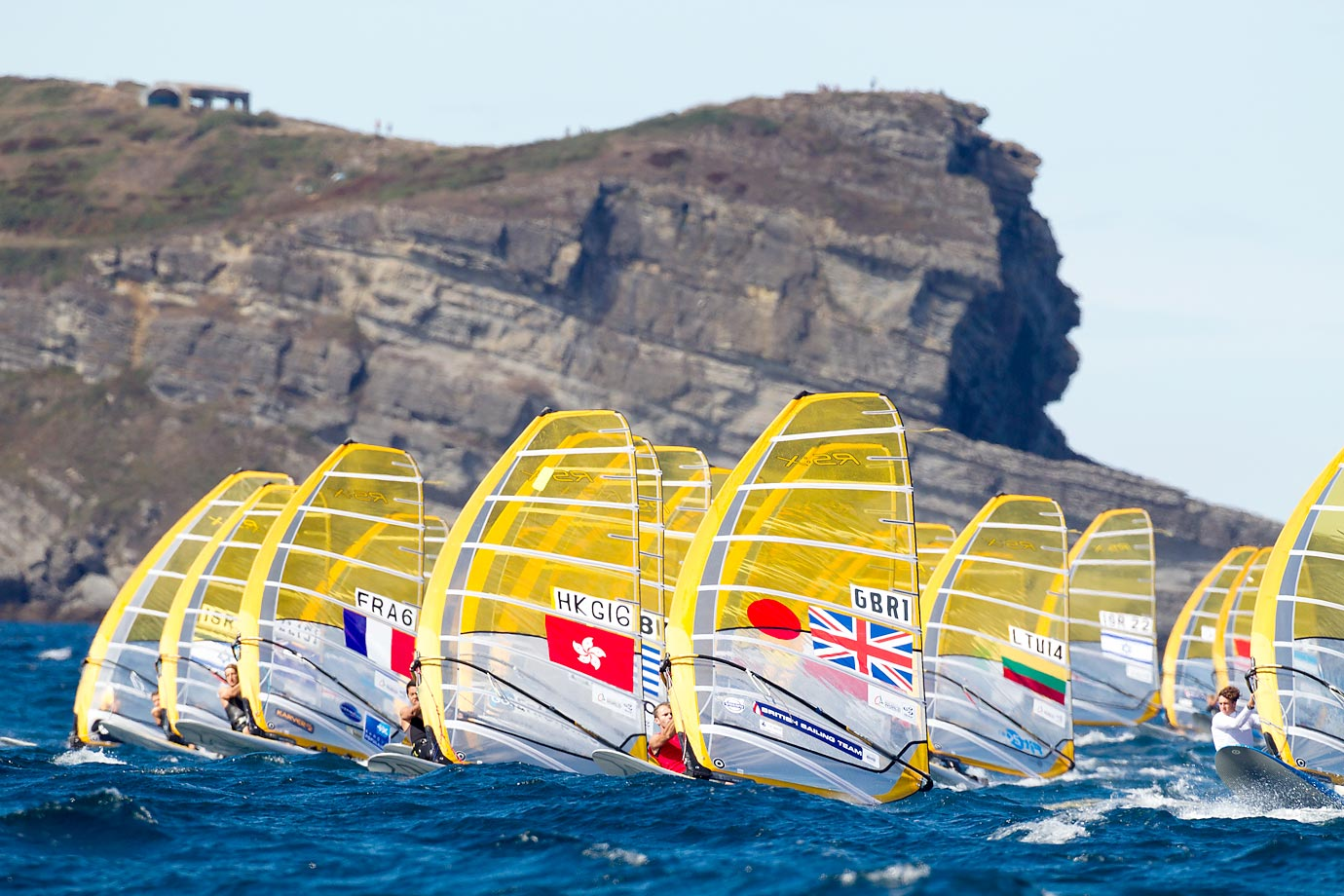 Nick Dempsey from the British Sailing Team during Day 6 of the 2014 ISAF Sailing World Championships.
