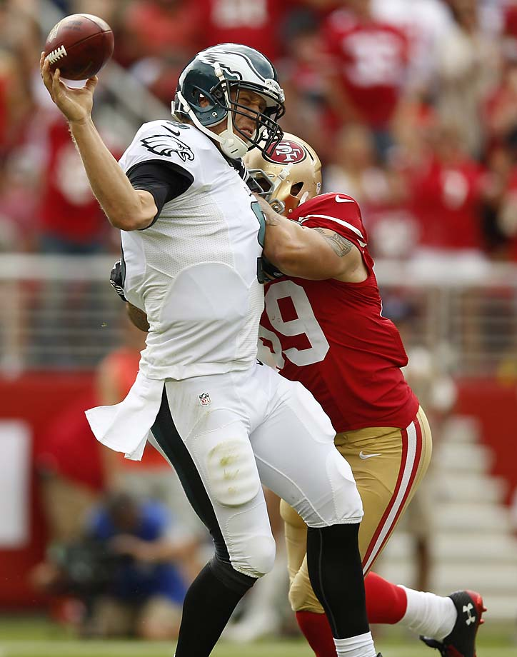Nick Foles was battered all day by the 49ers on a day when the Eagles' offense didn't score a single point.