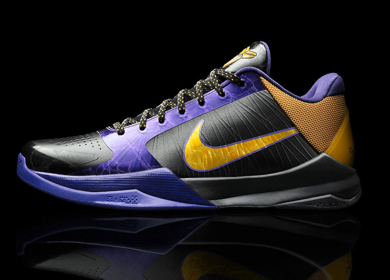 In 2009, Kobe went even lower and lighter than he did with the IV the year before. By further modifying the arch and heel of the shoe, the V decoupled the heel to help keep the shoe on the floor. A glass/carbon fiber plate in the mid-foot helps with control and rigidity. The new technologies underfoot were supported by stronger Flywire, heat welded bonding of the upper and an injected cushioning system.