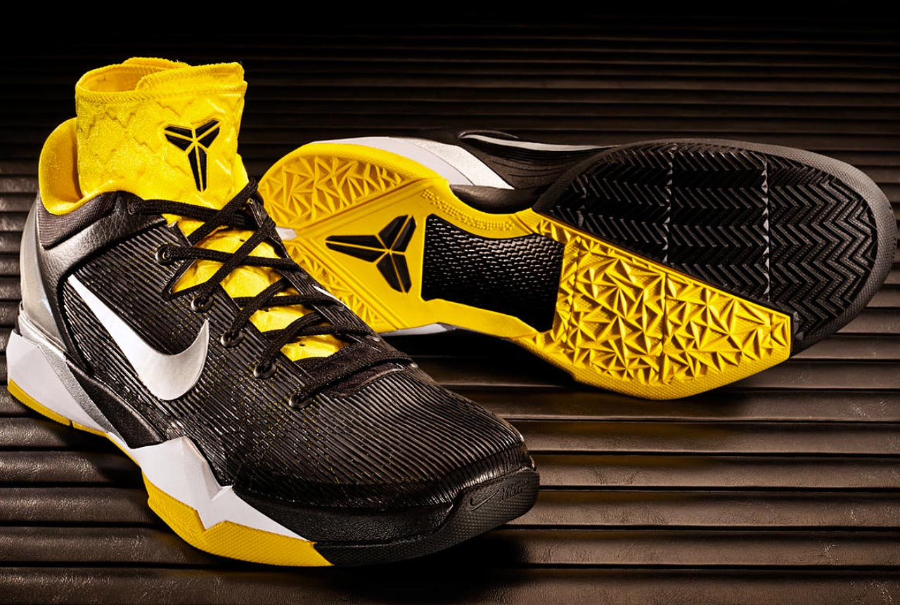 "By late 2011, Nike was ready to customize the Kobe signature, offering cushioned inserts for either a lightweight focus or a more padded approach. Players were encouraged to switch back and forth as needed. The glass reinforced elements, Flywire and heel supports all went to the next generation of technology, while the aesthetic look focused on Kobe as a ""predator."""