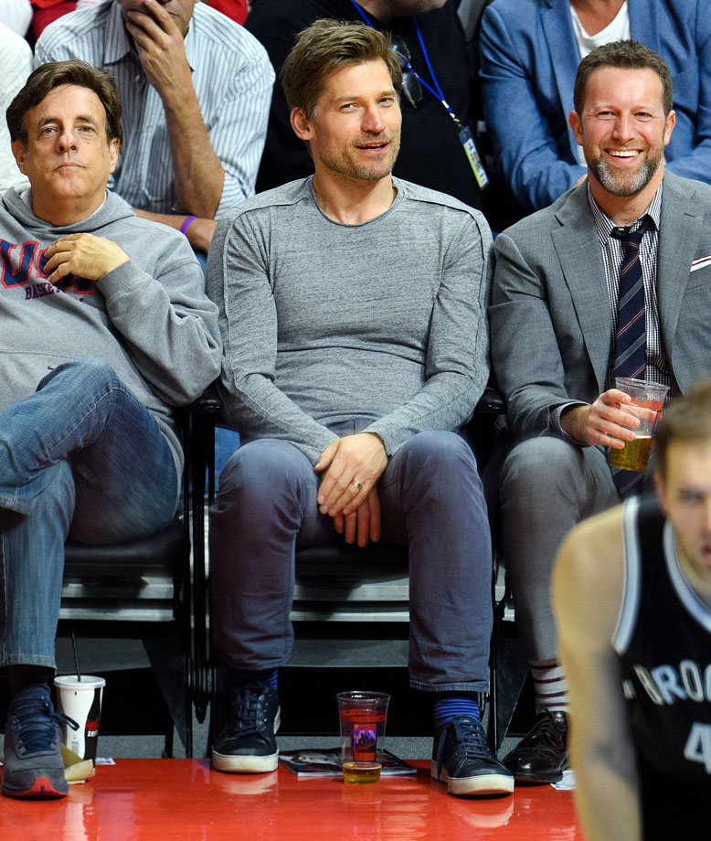 Nikolaj Coster-Waldau attends an NBA game between the Los Angeles Clippers and Brooklyn Nets at Staples Center on Jan. 22, 2015 in Los Angeles.