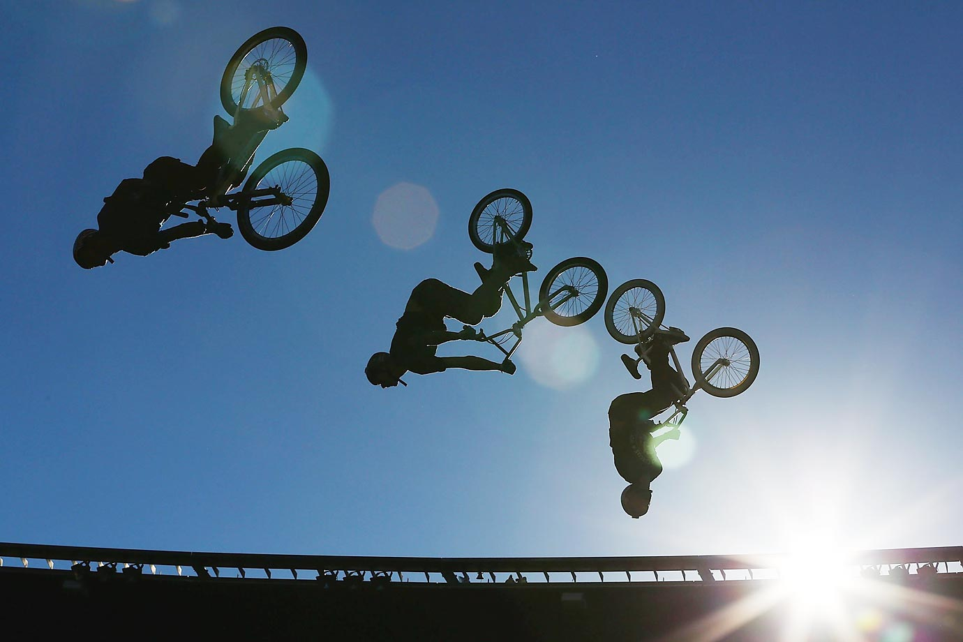 BMX riders perform during Nitro Circus Live at Westpac Stadium in Wellington, New Zealand.