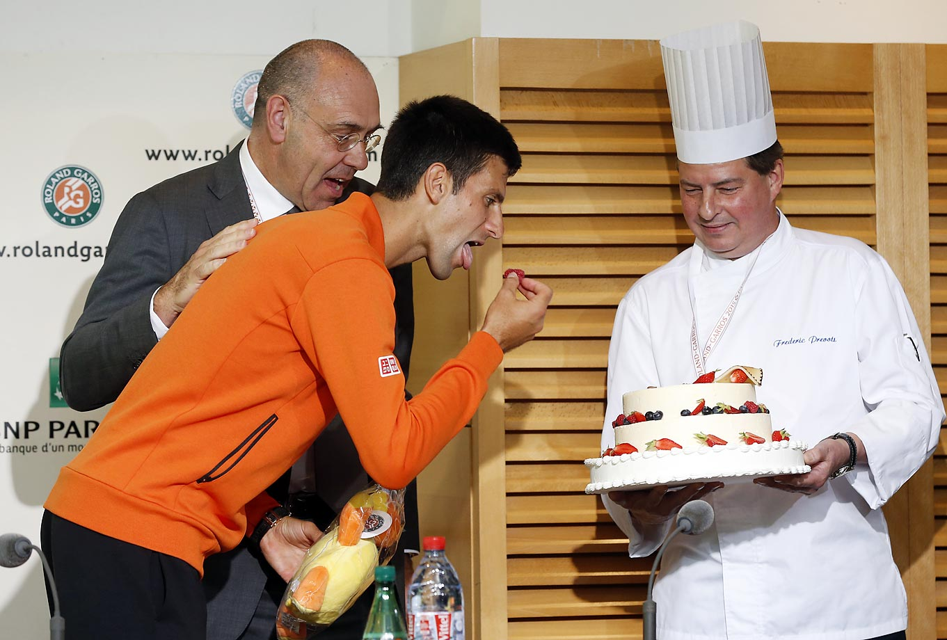 Novak Djokovic celebrates his 28th birthday at the French Open.
