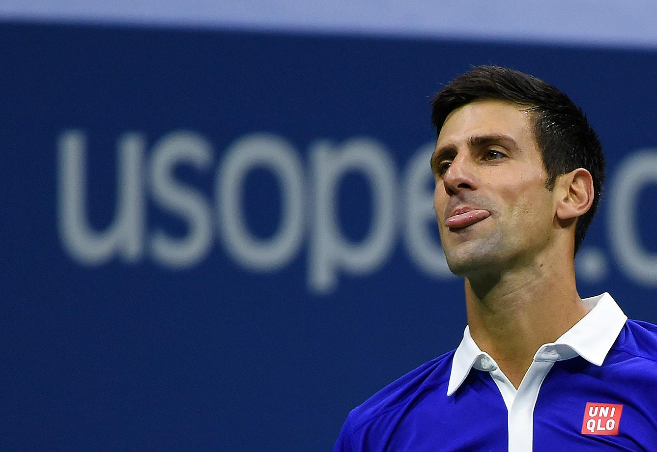 Novak Djokovic puts on a face after losing a point to Roger Federer in the Finals of the U.S. Open.