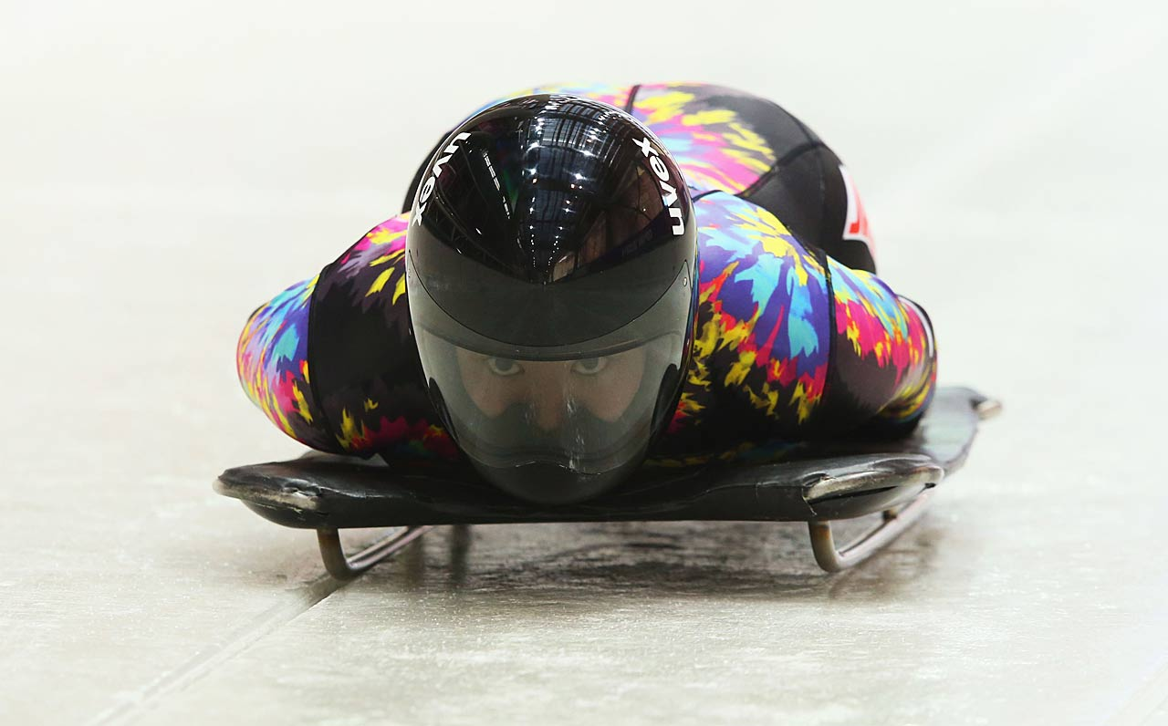 Nozomi Komuro of Japan makes a run during a skeleton training session.