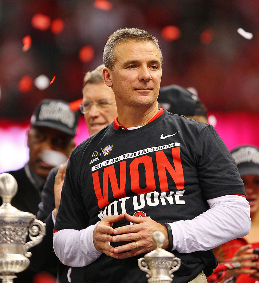 After just three years on the job at Ohio State, Meyer's one win away from a national championship.