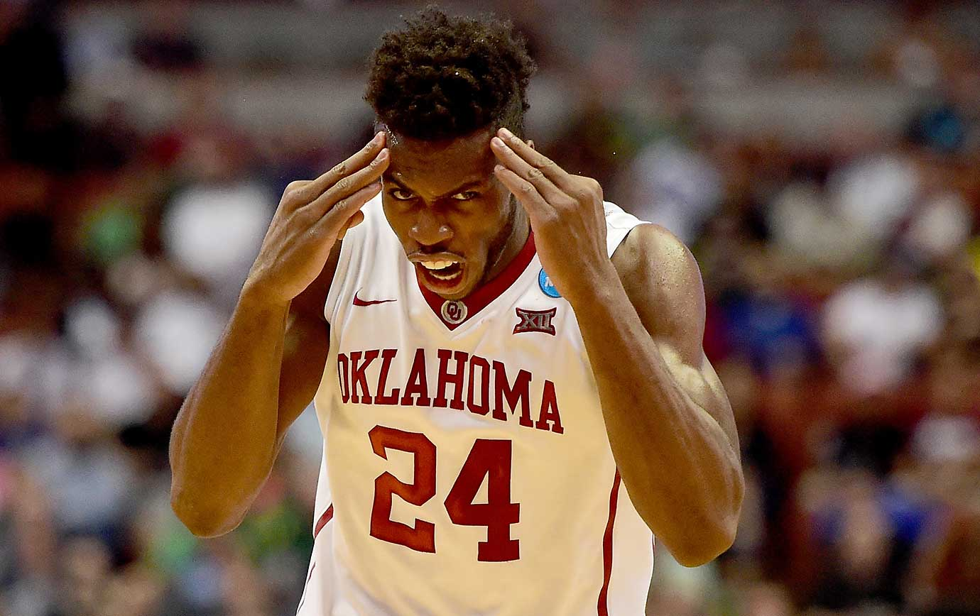 Buddy Hield of Oklahoma reacts while defeating Texas A&M to move within one win of reaching the Final Four.