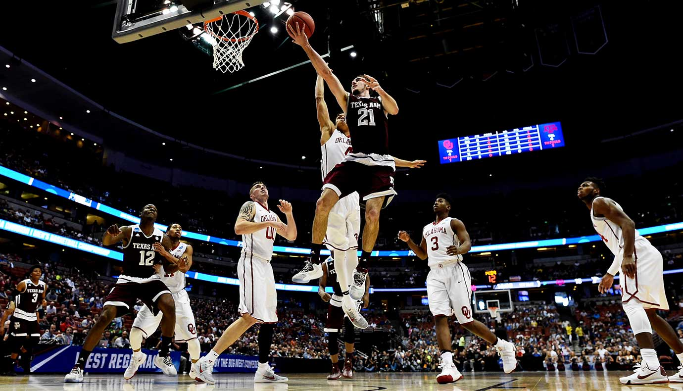Alex Caruso of Texas A&M goes up for a shot during the Aggies' 14-point loss.