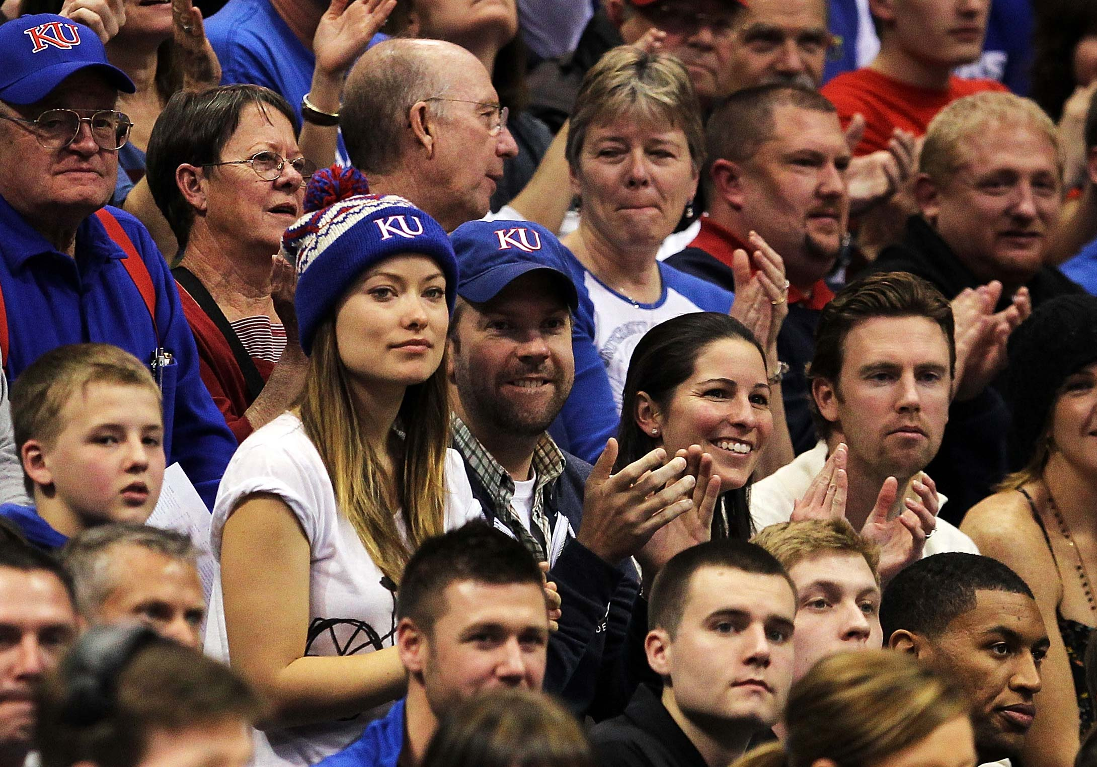 Olivia Wilde and Jason Sudeikis at the Howard Bison and Kansas Jayhawks game in 2011 in Lawrence, Kansas.