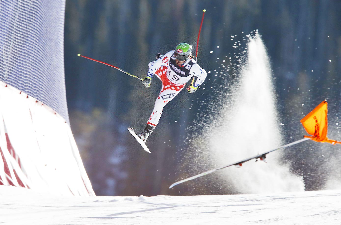 Czech Republic's Ondrej Bank crashes during the downhill portion of the Alpine combined at the world championships in Beaver Creek, Colo.