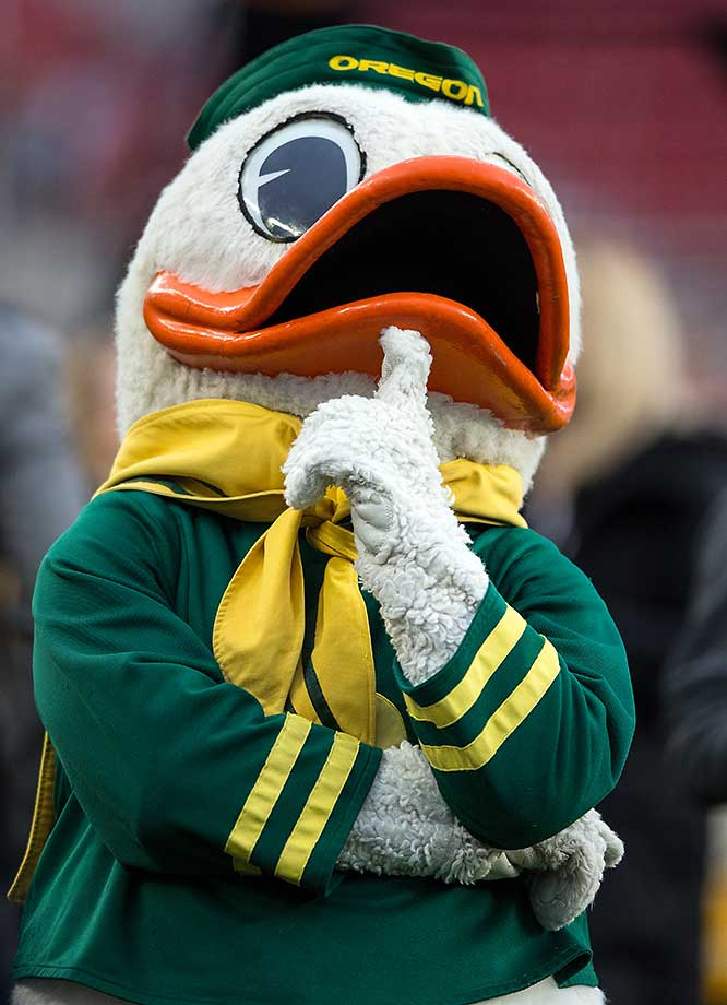 No. 1: Oregon's mascot is simple and easy to appreciate. Wearing a constant smile across his face and owning a playful persona, The Duck is one of the most creative, lovable and iconic mascots in the country, which is why it's No. 1 on my list. (Text credit: Andrew Wittrey/SI.com)