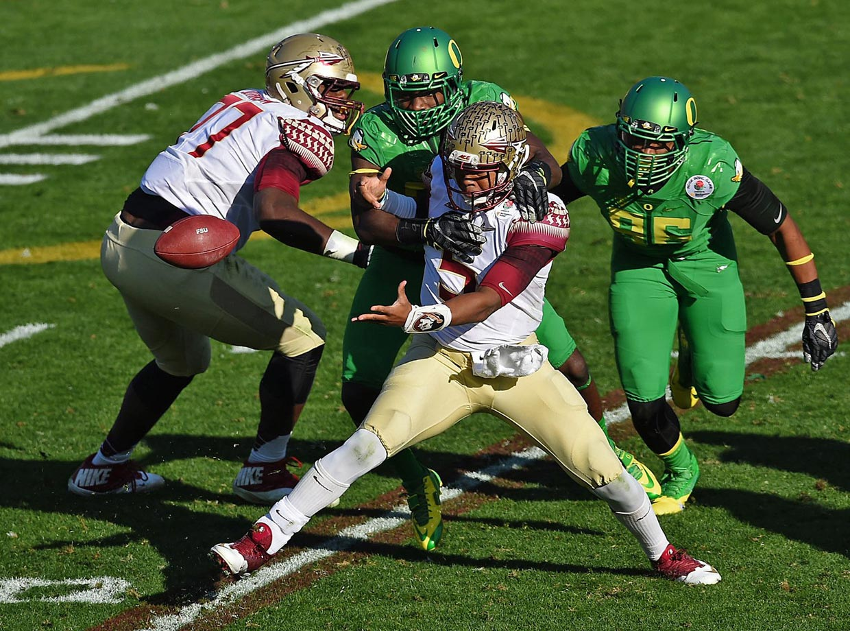 Jameis Winston fumbled four times, losing two to Oregon.