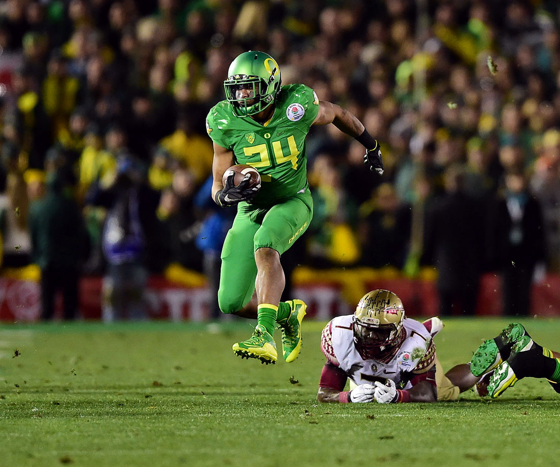 Thomas Tyner led the Ducks in rushing with 124 yards and two touchdowns.