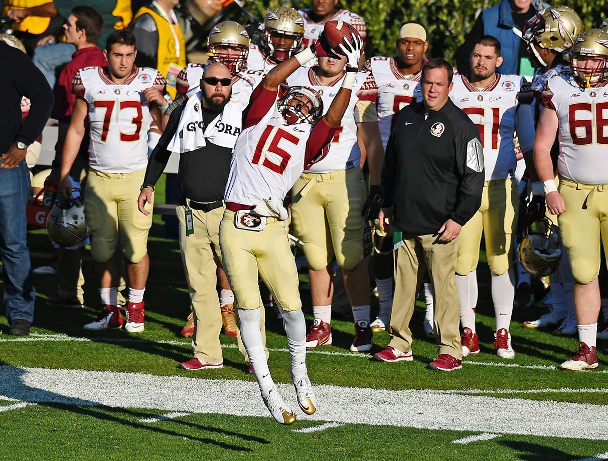 Freshman Travis Rudolph led the Seminoles in receiving with 96 yards, including an 18-yard touchdown pass to make it 25-20 Oregon with 8:07 left in the third.