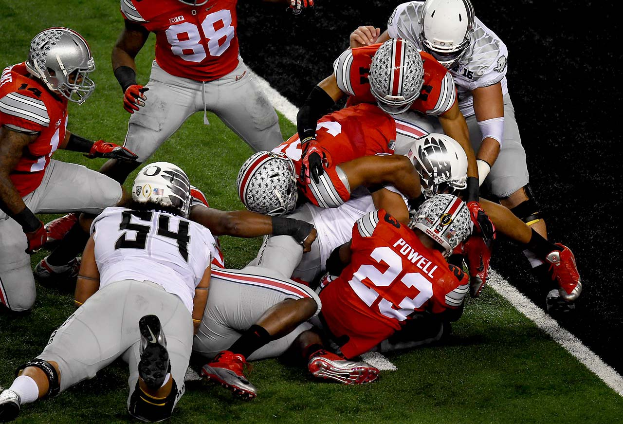 Ohio State safety Tyvis Powell stops Oregon running back Thomas Tyner short of the goal line in the Buckeyes' 42-20 win.