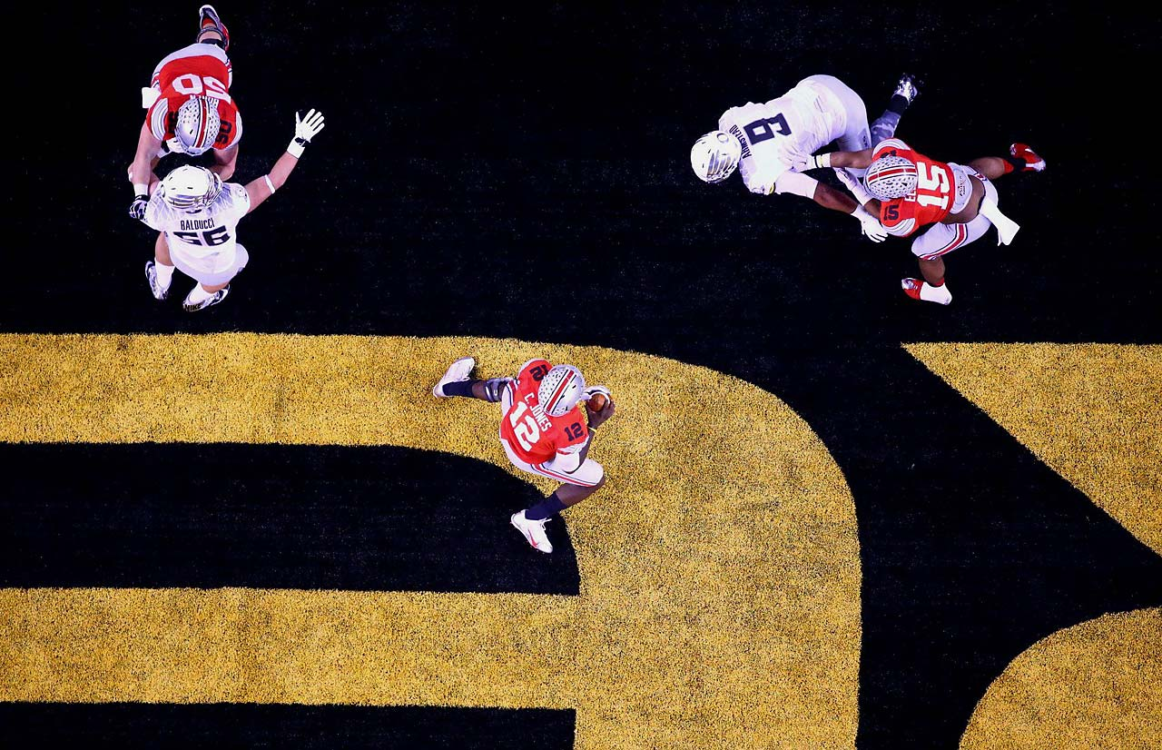 Ohio State quarterback Cardale Jones throws from his own end zone during the Buckeyes' 42-20 win.