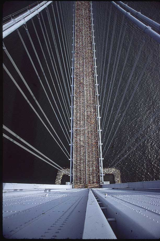 New York City Marathon runners on the Verrazano Narrows Bridge in 1983.