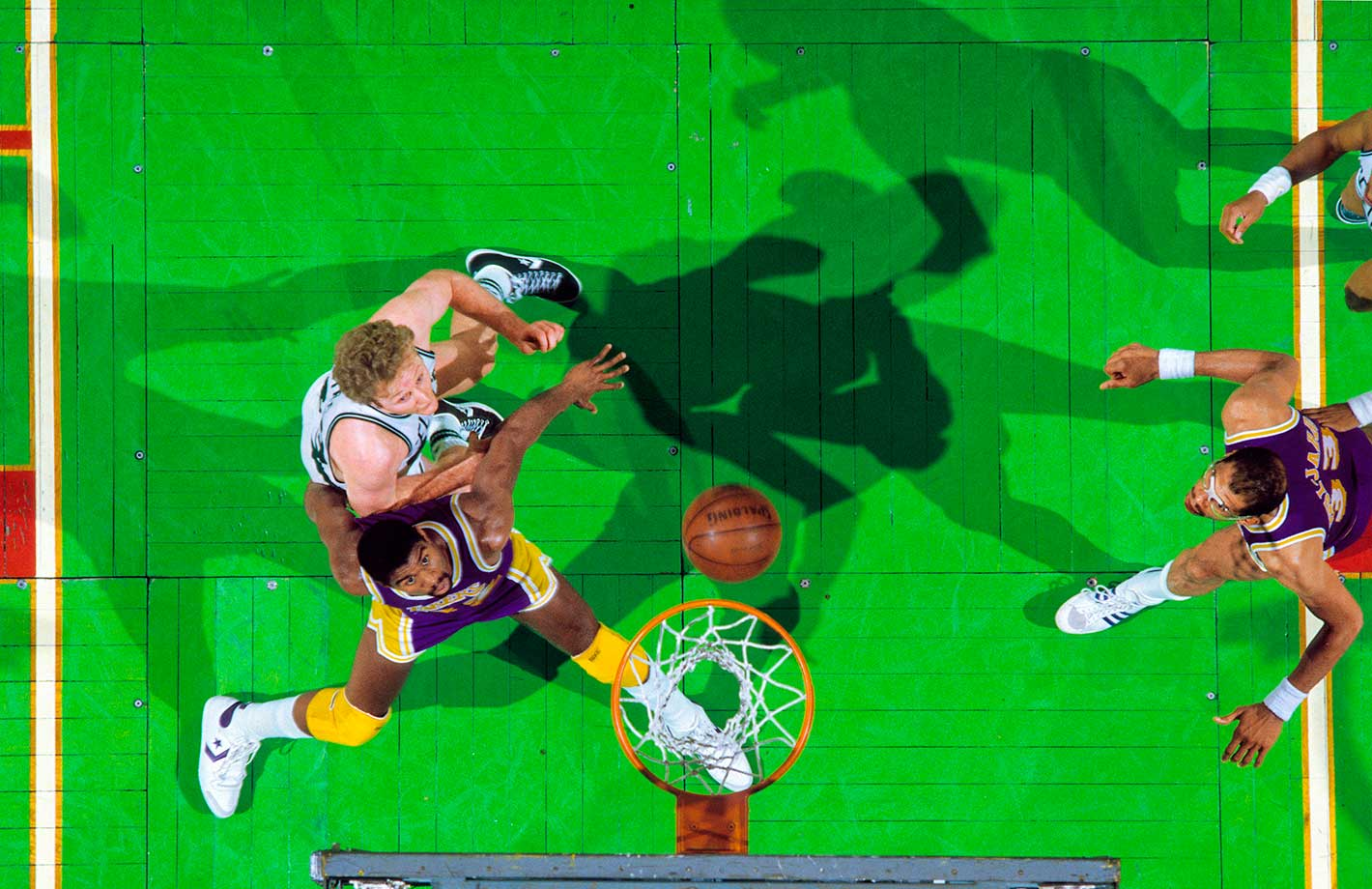 Boston Celtics great Larry Bird in action vs. Magic Johnson of the L.A. Lakers during Game 1 of the 1985 NBA Finals.