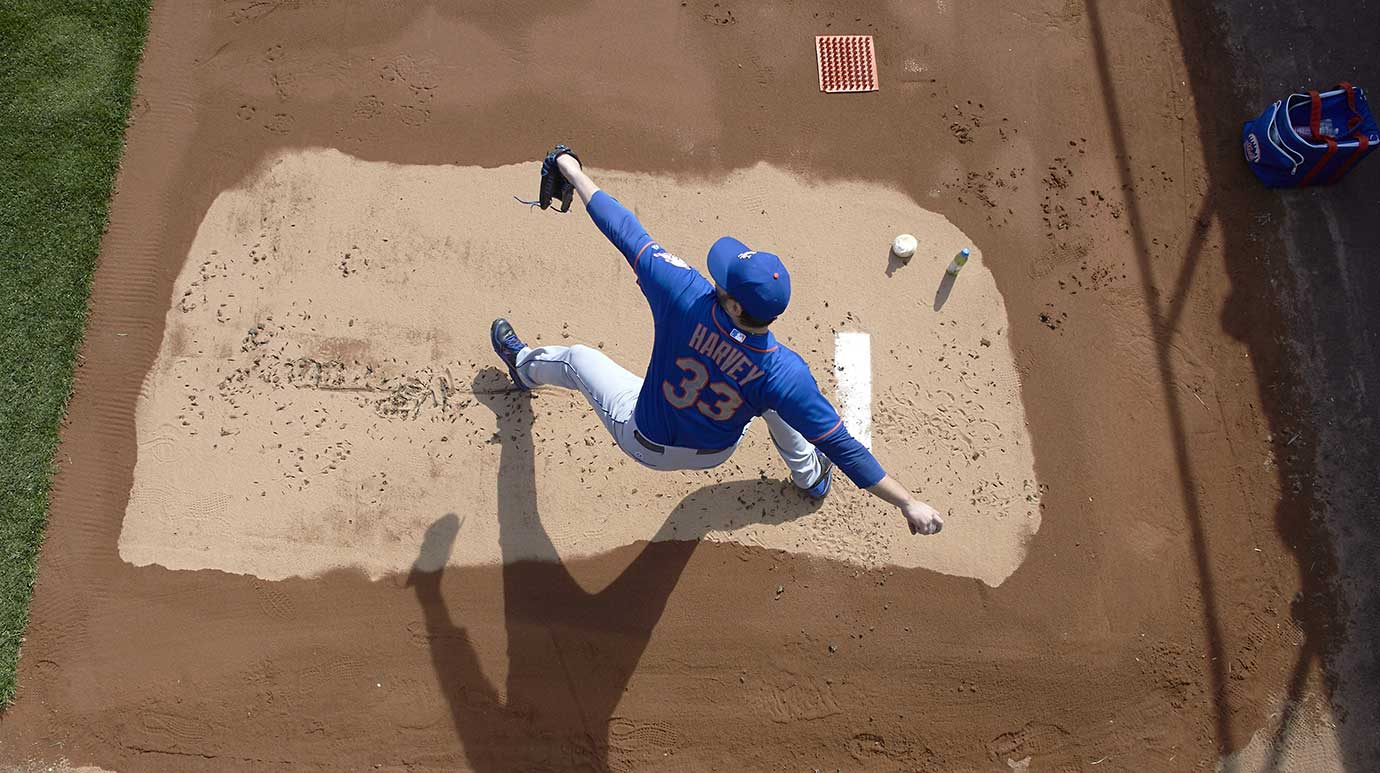 Mets pitcher Matt Harvey warms up in bullpen before a game against the New York Yankees.