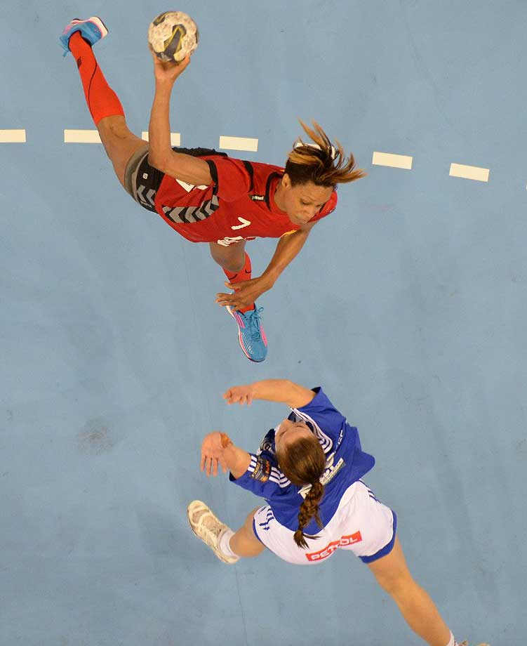 Competitors at the 2014 European Handball Federation's final four, which included ZRK Vardar vs ZRK Buducnos.