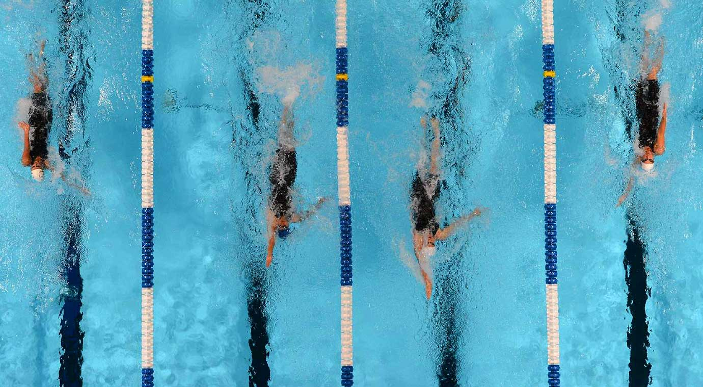 The 200-meter individual medley semifinals at the 2012 U.S. Olympic Swimming Trials.